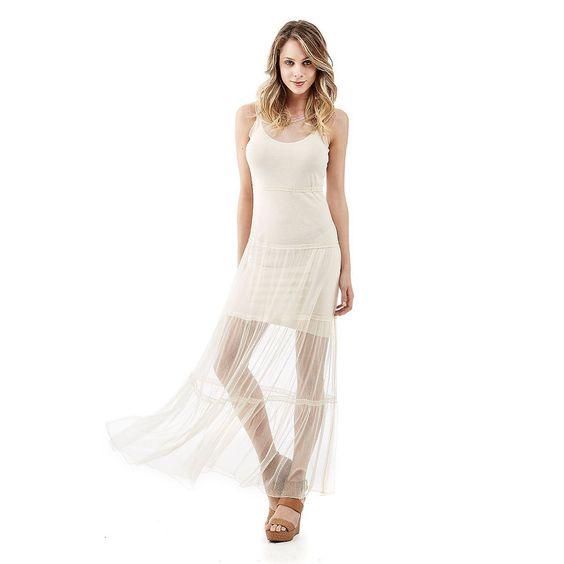 Kleid Larissa Long    Fließender Stoff und Hippie-Flair zeichnen dieses lange Kleid aus Tüll aus. Unwiderstehlich, weil unglaublich bezaubernd, aber auch angenehm zu tragen und praktisch.    100% Polyamid.  Handwäsche.  Längen Größe S ca. 146 cm....