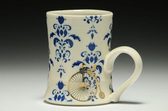 Damask Mug - Blue
