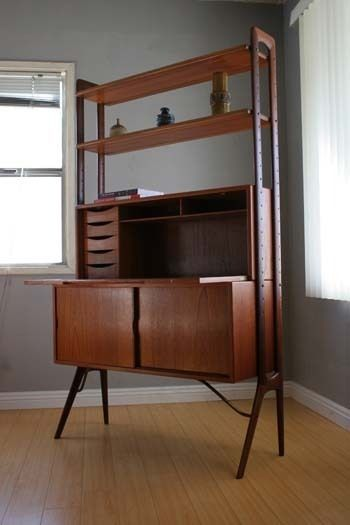 Mid Century Danish Modern Teak Wall Unit Desk Bookcase