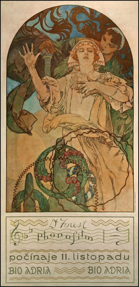 Mucha (1860 — 1939), poster for DeForest Phonofilm ,1927..  ladylikeyou | Entries tagged with art deco