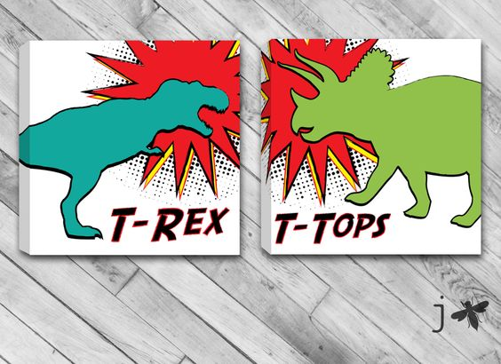 Set Of 2 Comic Book inspired T-Rex and T-Tops - Dinosaurs Mounted Canvas Wall Art by JbeeDesign on Etsy