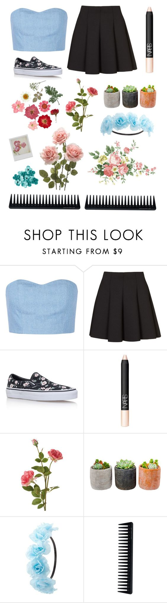 """""""fleurs"""" by to-wear-a-mockingbird ❤ liked on Polyvore featuring Julien David, Topshop, Vans, NARS Cosmetics, OKA, Shop Succulents, Charlotte Russe, Disney and GHD"""