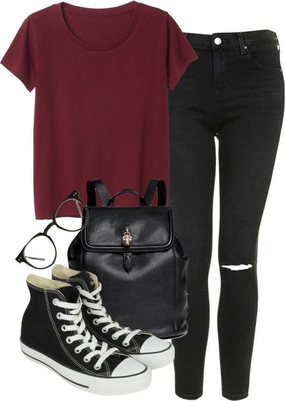 Typical Look for School Untitled #1051 by aracelymejiax featuring a skull backpack Monki red tee, $13 / Topshop skinny jeans / Converse sneaker, $82 / Alexander McQueen skull backpack / Black eye...: