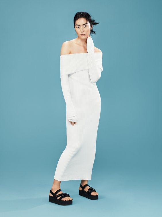 Liu Wen models an off the shoulder maxi dress from Mango's spring 2016 collection