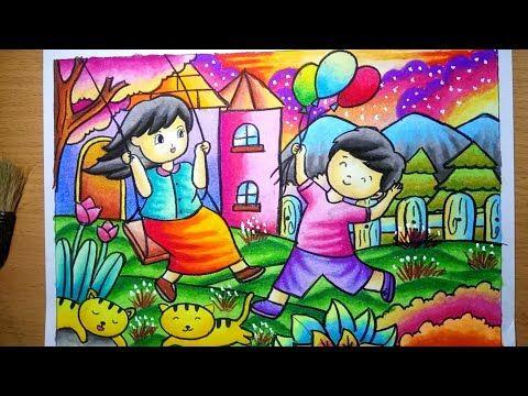 4200 Melukis Pemandangan Dengan Crayon HD
