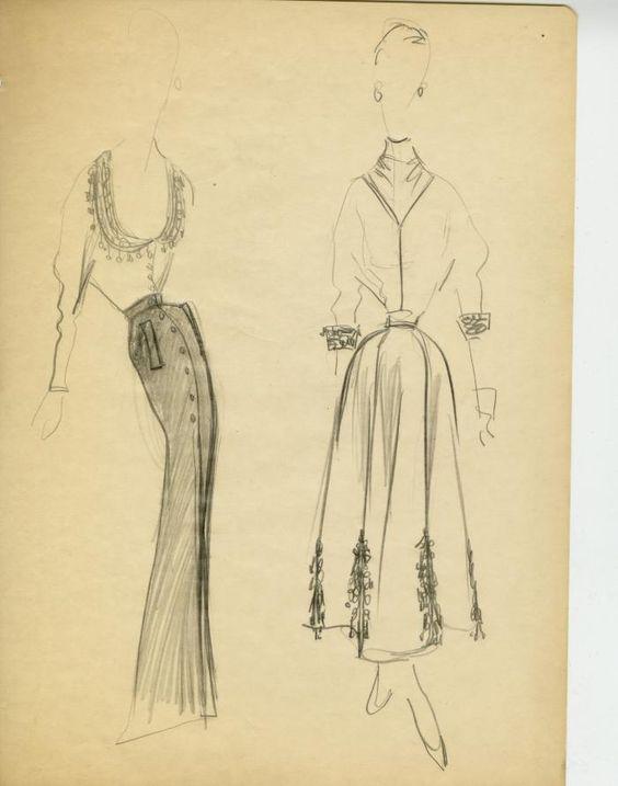 James Galanos sketches for Jimi Originals ➔ Two Women's Ensembles with Decorative Trim, circa 1950.