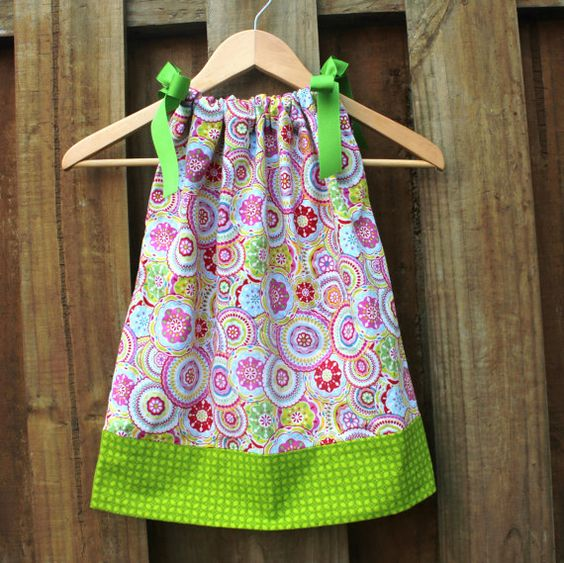 Bright & Bold Pillowcase Dress Pink Lime by ItsyBitsyBabyKnits, $24.00