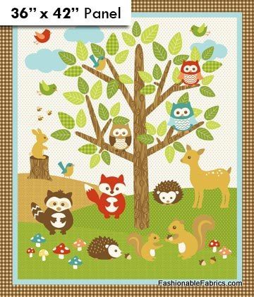 Fabric Flannel Forest Friends Quilting Panel By