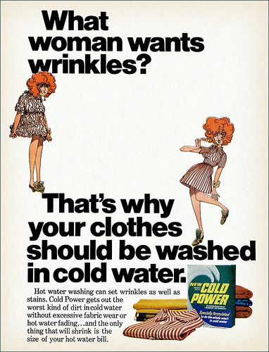 What woman wants wrinkles? Cold Power Detergent, 1971