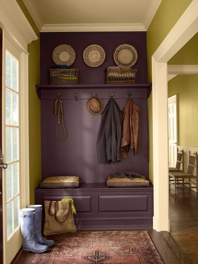 What a cool idea! Paint a bench, wall, and shelf the same color to make it look like a built-in.: