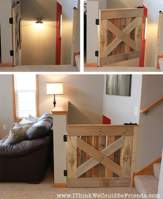 $10 Palette Wood Barn Door  Baby  Pet Gate ! For the top of the stairs for the dogs