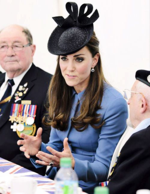 The Duchess of Cambridge at a tea party in Normandy with D-Day vets. June 6, 2014