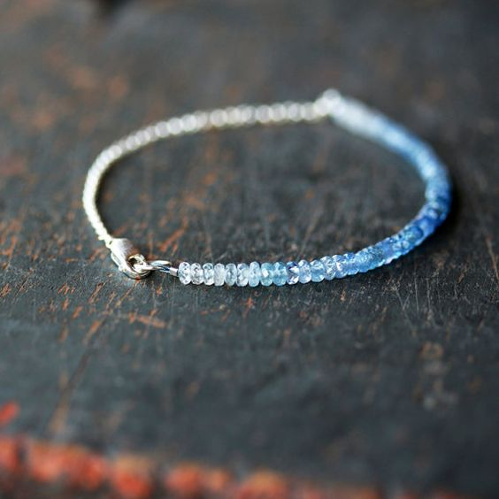 Ombre Blue Sapphire Beaded Bracelet Ombre by ShopClementine