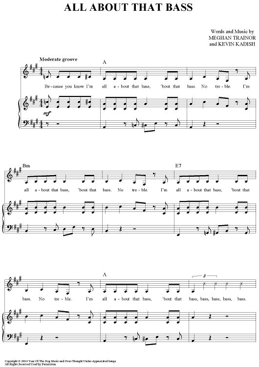 All About That Bass Sheet Music Free Pdf - all about that bass sheet music by meghan trainor ...