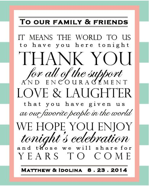 DIY Printable Wedding Thank You Sign, Digital File PDF, Customizable Colors Dates and Names, Mint Coral Wedding on Etsy, $10.00