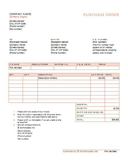 purchase order template Word for office Pinterest – Templates for Purchase Orders