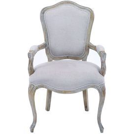 """Weathered wood arm chair with off-white upholstery and cabriole legs.  Product: ChairConstruction Material: Wood and fabricColor: Weathered off-white and beigeFeatures: Cabriole legsDimensions: 39"""" H x 24"""" W x 22"""" D"""