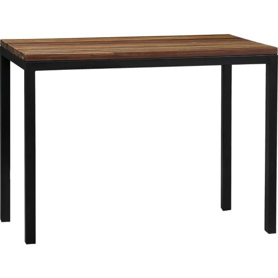 Parsons Reclaimed Wood Top Dark Steel Base 48x28 High Dining Table Kitchen