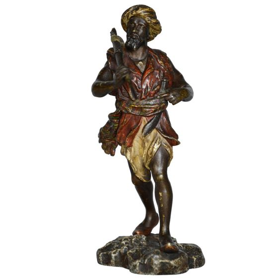 Cold Painted Bronze Sculpture of an Arab Warrior by Bergman | From a unique collection of antique and modern sculptures at https://www.1stdibs.com/furniture/decorative-objects/sculptures/