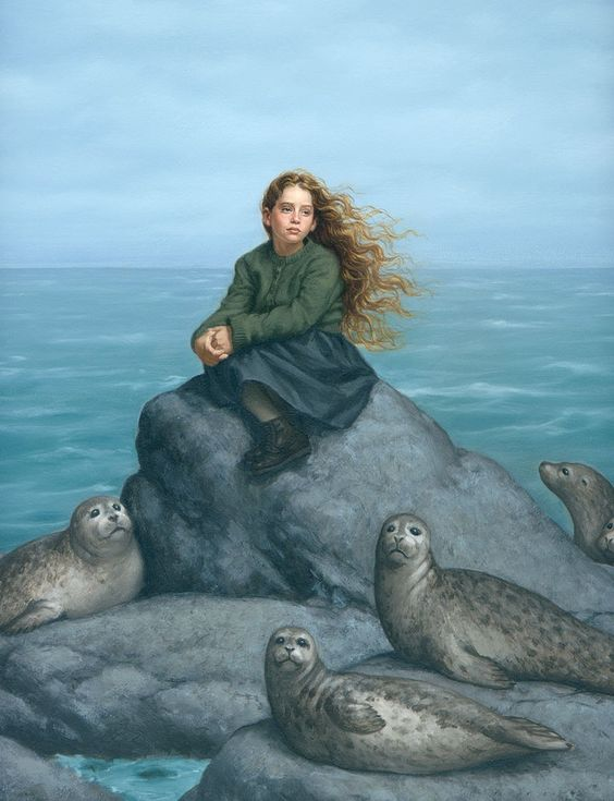 """Daughter of the Sea"". Selkies are mythological creatures found in Faroese, Icelandic, Irish, and Scottish folklore. They are said to live as seals in the sea, but shed their skin to become human on land. The legend apparently originated on the Orkney and Shetland Islands and is very similar to those of swan maidens."""