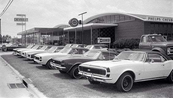 Chevy Dealership row of new '67 Camaros