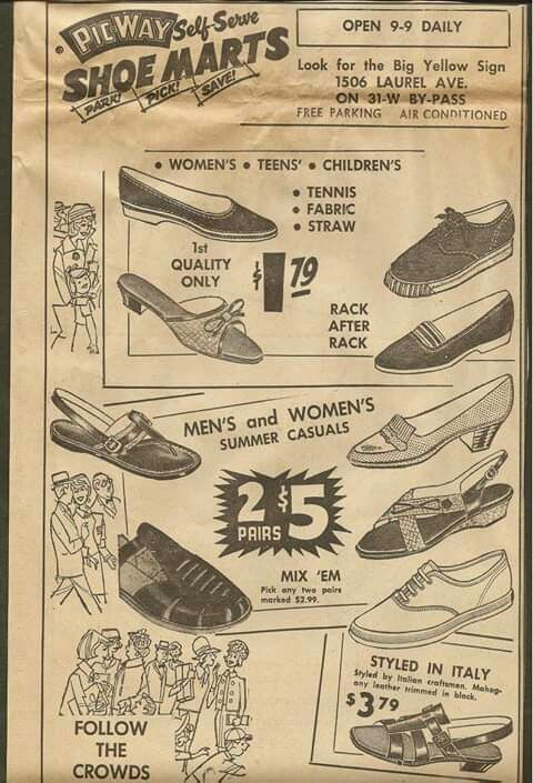 Vintage Ad Pic Way Shoe Marts Bowling Green Ky 1967 3 99 Vintage Advertisements Favorite Things List Vintage Ads