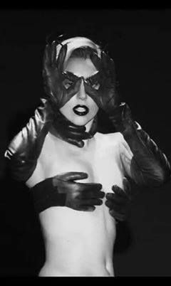 Lady Gaga. This was my favorite look in her Applause video.  The top was fashioned by Jean-Charles de Castelbajac, and it actually created a cool optical effect.