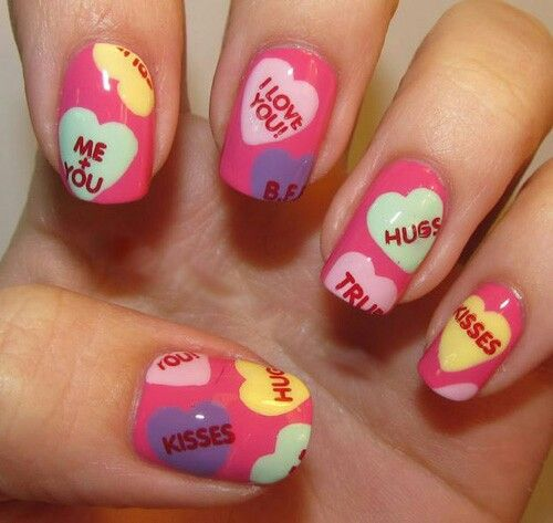Conversation hearts valentines day heart nails: