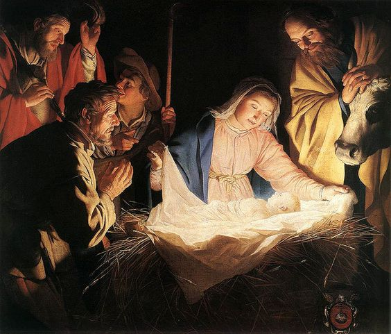 'Adoration of the Shepherds' 1622 by Gerard van Honthorst    HIGH RESOLUTION.     Gerard van Honthorst [Dutch Golden Age painter 1592 – 1656]  Oil on canvas  Wallraf-Richartz-Museum                                             HIGH RESOLUTION. Gerard van Hont...