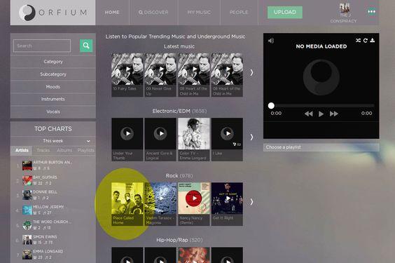 New Orfium discover menu
