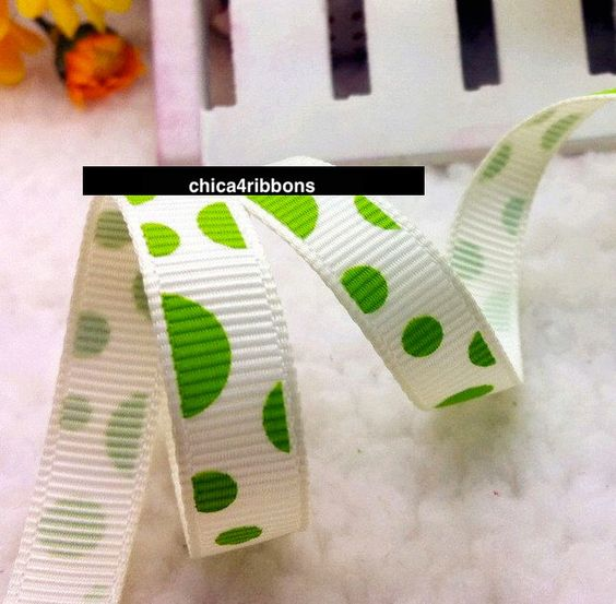 "3/8"" 9mm GREEN DOTS Printed Grosgrain Ribbon by Yard Hair Bows, Headbands, Lanyard, Sewing, Scrapbook, Crafts, Party Favors by chica4ribbons on Etsy https://www.etsy.com/listing/214860567/38-9mm-green-dots-printed-grosgrain"