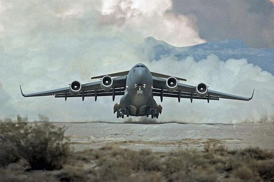 U.S. Air Force C17 / Much smaller that it's Russian counterpart Antonov but still has a hugely significant capacity to load massive weights quickly and efficiently