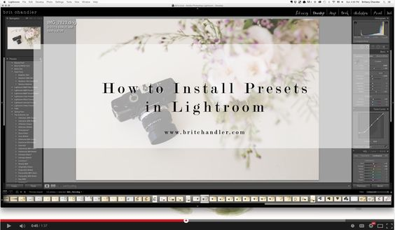 Video Tutorial: How to install presets in Lightroom | Brit Chandler Photographyhttp://britchandler.com/faqs/