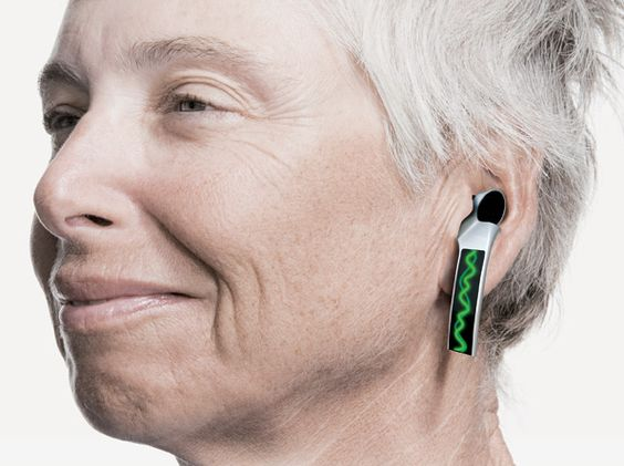 """SoundsGood - designed by Peiqi Tang - a futuristic """"jewelry"""" hearing aid with visible sound waves #hearingaids #hearingloss"""