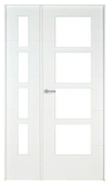 Puerta de interior con cristal lucerna lacada blanca doble - Puertas blancas lacadas ...