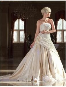 Elegant Ball Gown Strapless Cathedral Train Lace Wed...