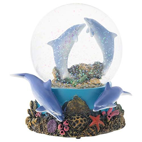 Elanze Designs Coral Reef Dolphin Pod 100mm Musical Water Globe Plays Tune Fur Elise Christmas Ornaments Top Brands Artists Designer Names Snow Globes Water Globes Globe