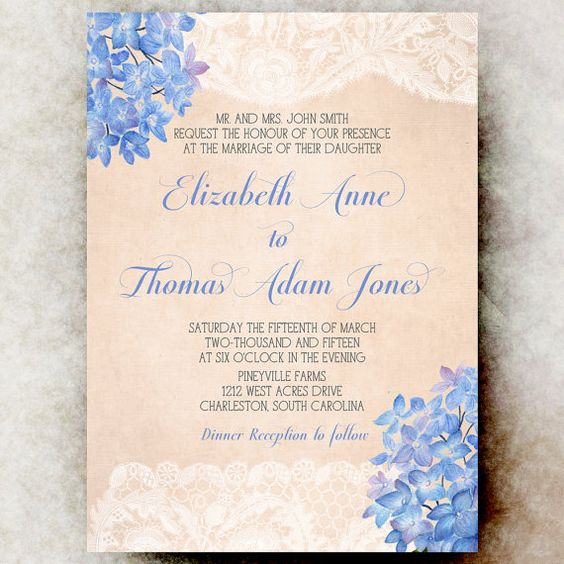 Lace Peach periwinkle Wedding Invitation  by DivineGiveDigital