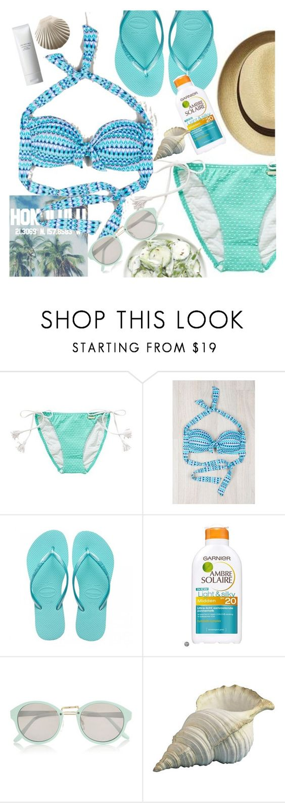"""""""into the blue"""" by sanddollardubai ❤ liked on Polyvore featuring Sunseeker, Havaianas, River Island and Shiseido"""