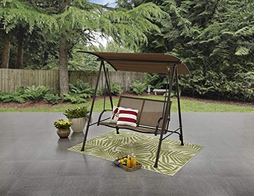Amazing Offer On Mainstays Two Person Swing Brown Tan Online Greattopfurniture Porch Swing Metal Yard Art Yard Art