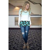 Every Day Floral Colorblock Top in Mint