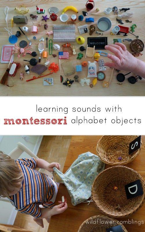 aprendizaje sonidos con objetos alfabeto montessori {más Giveaway of conjunto completo 100+ objeto!} de divagaciones de flores silvestres