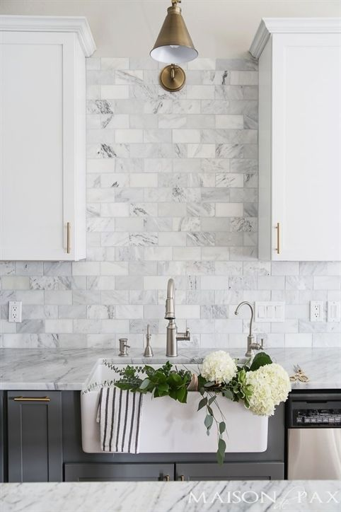 Gray And White And Marble Kitchen Reveal White Marble Kitchen
