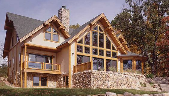 Cottages luxury cottages and cottage floor plans on pinterest for Stone and cedar homes