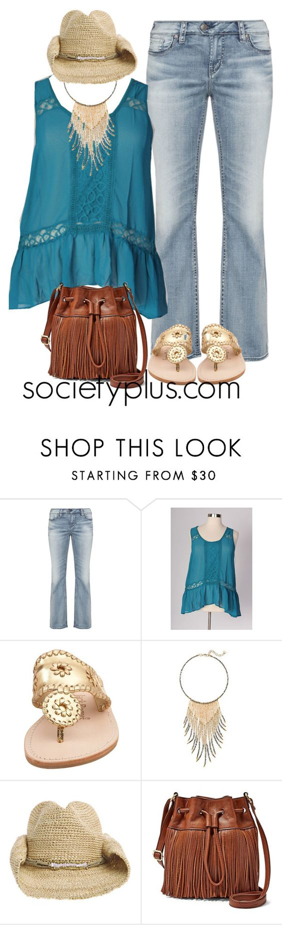 """""""Plus Size Boho Top - Alexa Webb for Society+"""" by iamsocietyplus on Polyvore featuring Jack Rogers, Nakamol Design, Flora Bella, FOSSIL, women's clothing, women, female, woman, misses and juniors"""
