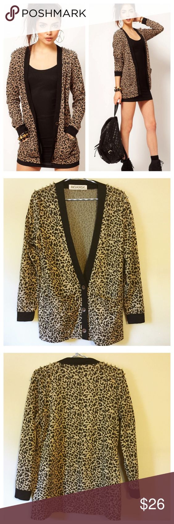 """New ASOS Leopard Print Studded Shoulder Cardigan L New without tags --- ASOS Leopard Print Studded Shoulder Mediumweight Cardigan --- Large ---  65% polyester 35% viscose --- two pockets and three wooden button closure --- black trim --- 19"""" bust --- 27.5"""" length --- brand is Reverse --- thank you for visiting my boutique, please feel free to ask any questions  ASOS Sweaters Cardigans"""