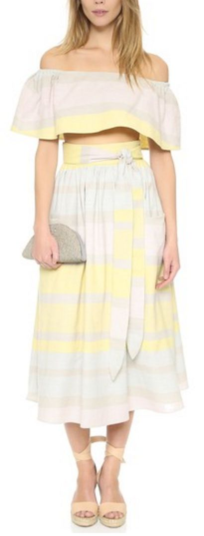 Tie-Waist Flare Skirt in Yellow, Nude, and Mint