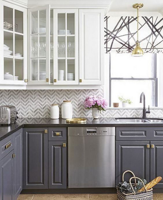 20 Most Popular Kitchen Cabinet Paint Color Ideas Trends For 2019 Grey Kitchen Cabinets Two Tone Kitchen Cabinets Kitchen Renovation