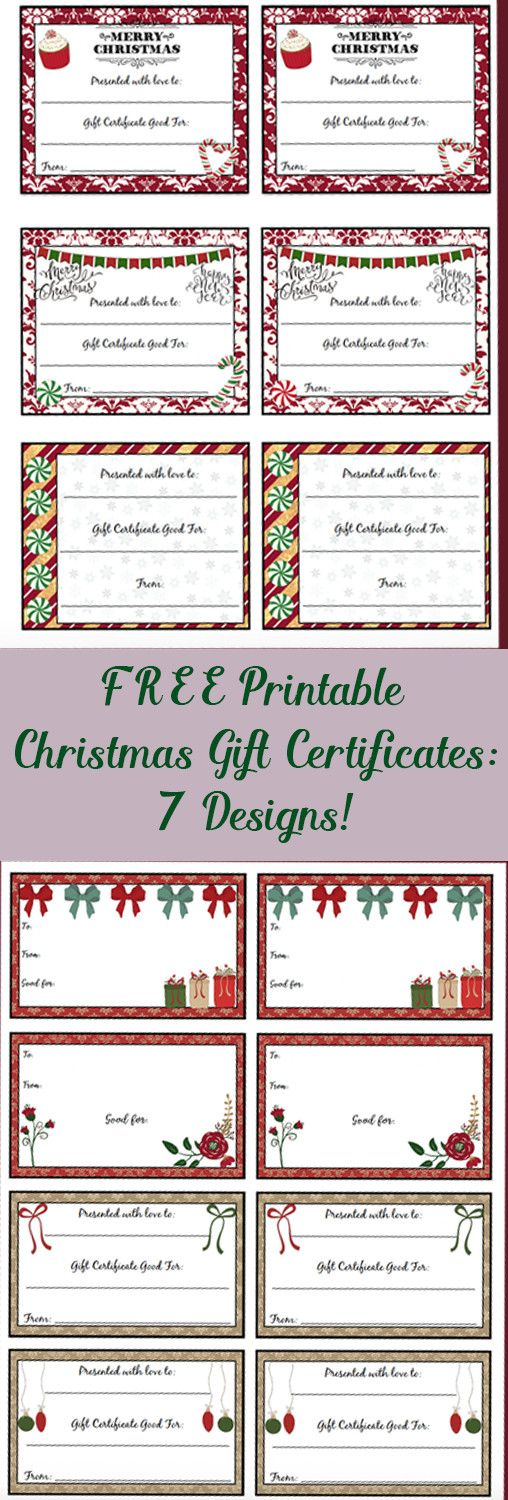 FREE Printable Christmas Gift Certificates 7 Designs, Pick Your - gift card templates free