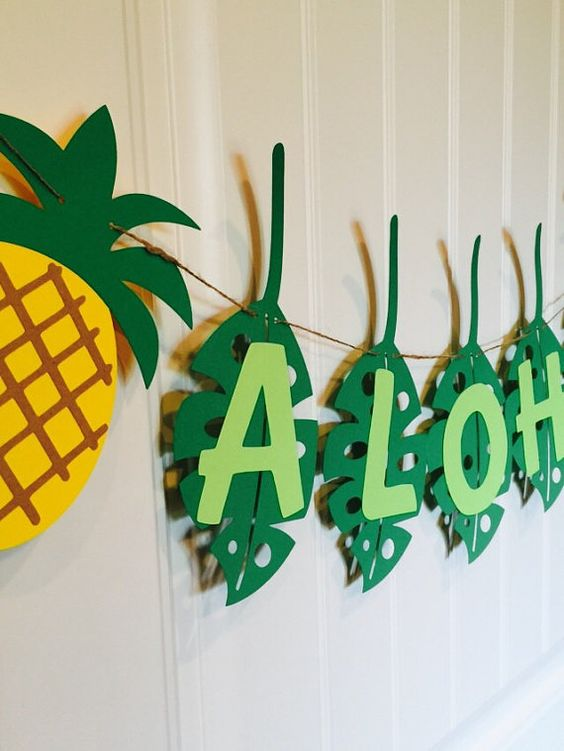 Aloha banner, pineapple party, decoration party, garland, Hawaii, green, yellow, brown: